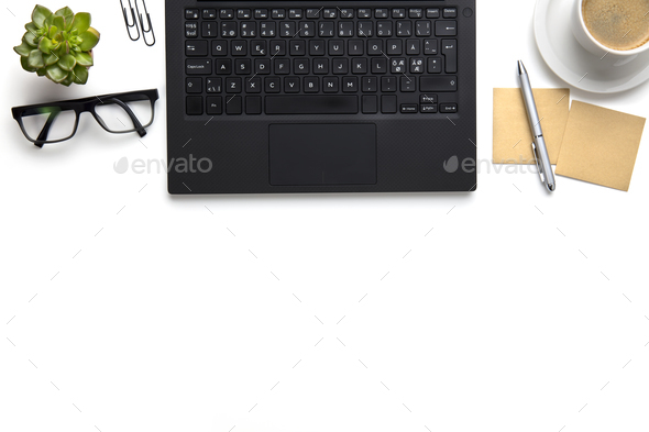 Laptop With Eyeglasses, Coffee Cup And Notes On White Desk - Stock Photo - Images