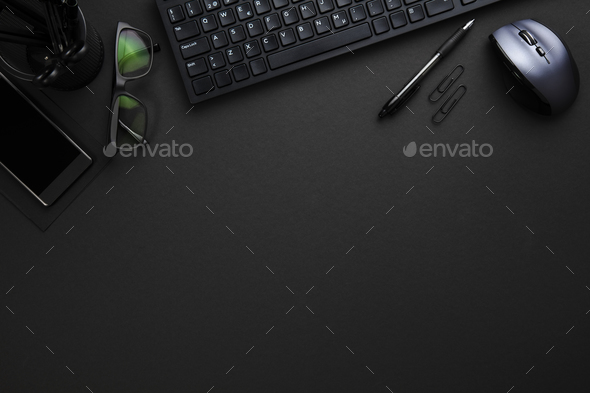 Office Supplies With Computer Keyboard And Mouse On Gray Desk - Stock Photo - Images
