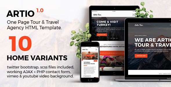 Artio – Tour & Travel Agency HTML Template