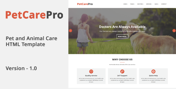 PetCarePro – Pet and Animal Care HTML Template