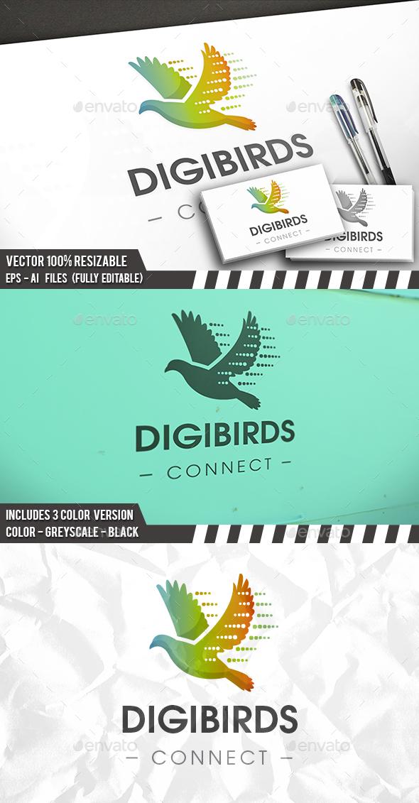 Digital Bird Logo - Animals Logo Templates
