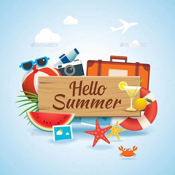 Hello Summer Time Travel Season Banner - Seasons Nature