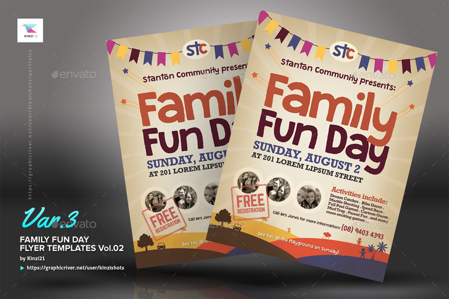 Alternative Family Fun Day Flyers Vol By Kinzishots GraphicRiver - Fun brochure templates