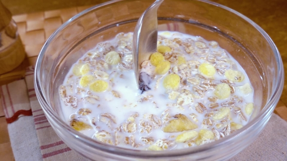Whole Grain Cereal Muesli in a Bowl