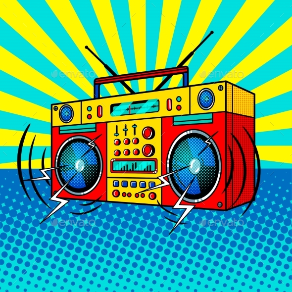 Boombox Comic Book Style Vector Illustration - Retro Technology