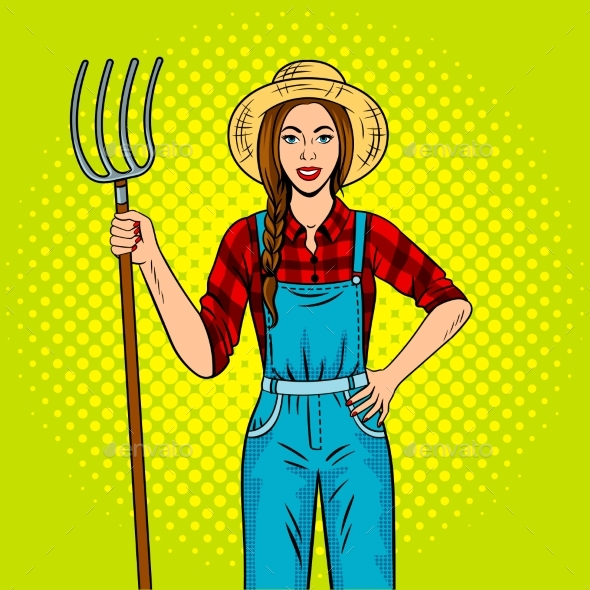 Girl Farmer with Pitchfork Pop Art Vector - People Characters