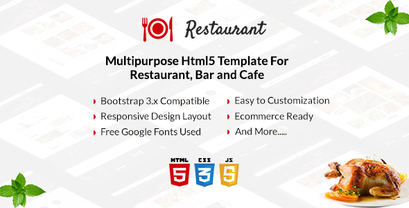 Image of Restaurant - Multipurpose Html5 Template For Restaurant, Bar and Cafe