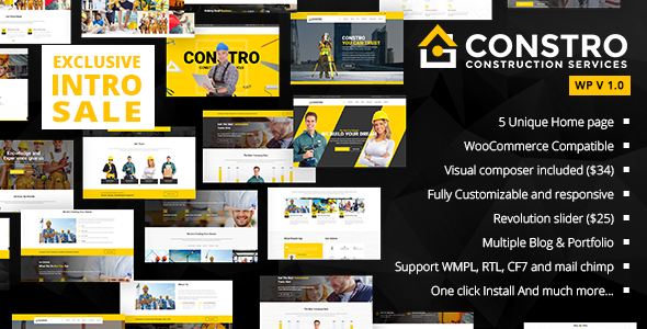 Constro – Construction Business WordPress Theme