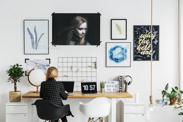 Woman working in home office - Stock Photo - Images