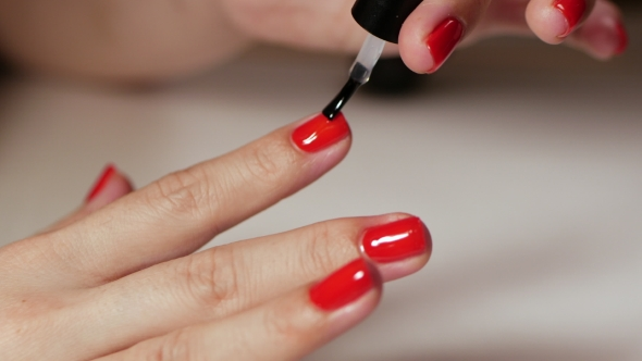 Female Hands Manicure with Red Nails View on White Background ...