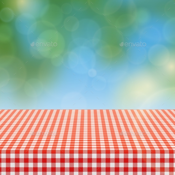 Picnic Table With Red Checkered Pattern Of Linen   Miscellaneous Vectors
