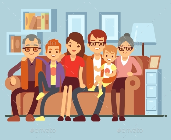 Family Sitting on Sofa - People Characters