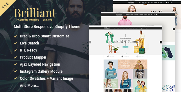 Brilliant - Multi Store Responsive Shopify Theme - Shopify eCommerce