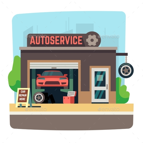 Car Repair Mechanic Shop with Automobile Inside - Buildings Objects