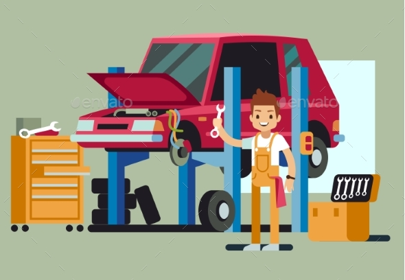 Smiling Professional Car Repair Man - Services Commercial / Shopping