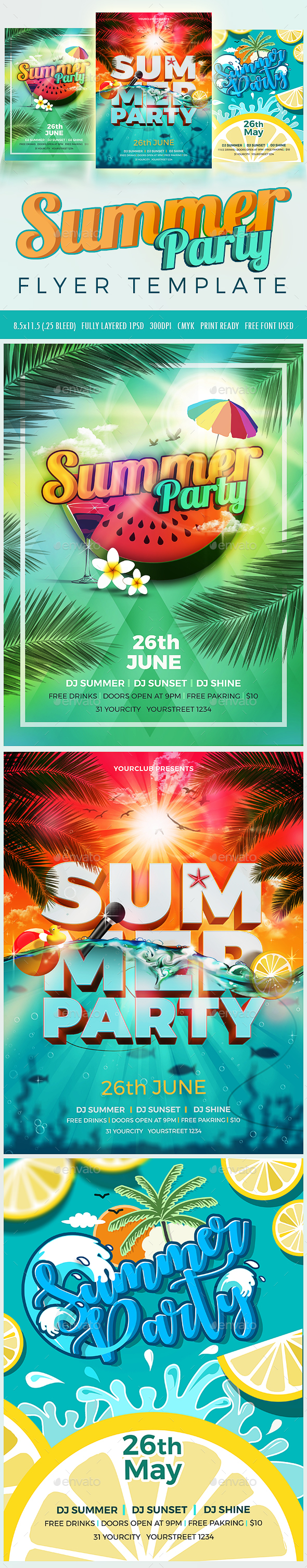 3 Summer Party Flyer - Clubs & Parties Events