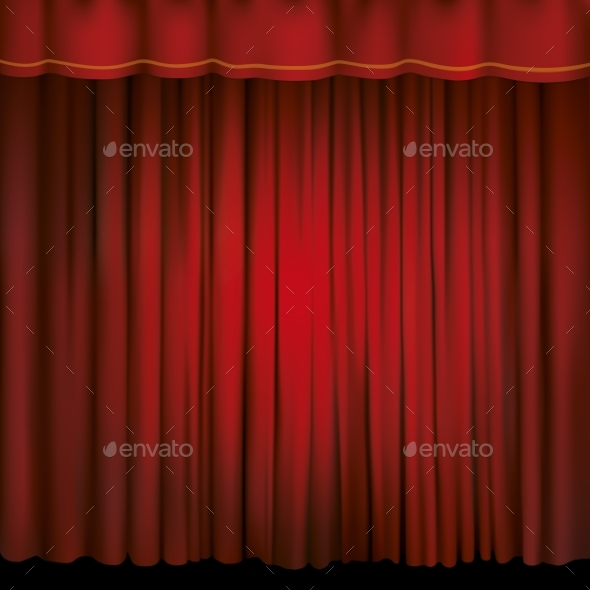 Spotlight on a Red Stage Curtain - Man-made Objects Objects