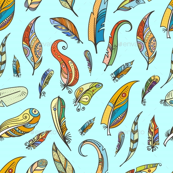 Tribal Feathers in Boho Style - Backgrounds Decorative