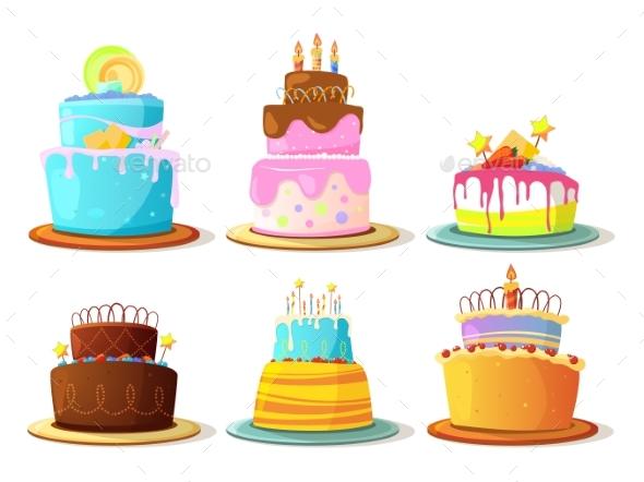 Cartoon Cream Cakes Set Isolated on White - Food Objects