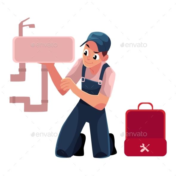 Plumbing Specialist Plumber Repairing Kitchen - People Characters