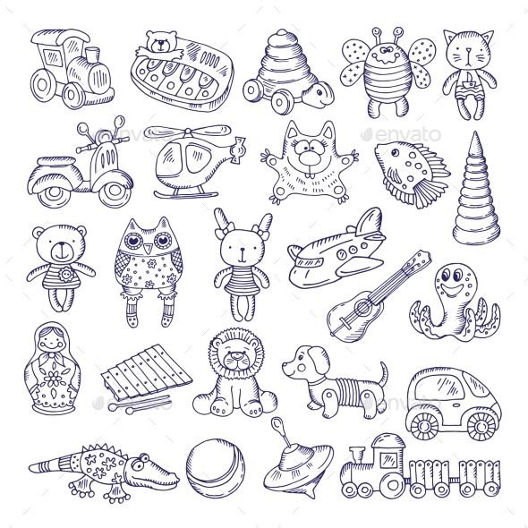 Drawing Vintage Collection of Toys - Man-made Objects Objects