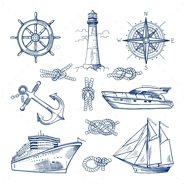 Marine Doodles Set with Ships, Boats and Nautical Items - Decorative Symbols Decorative