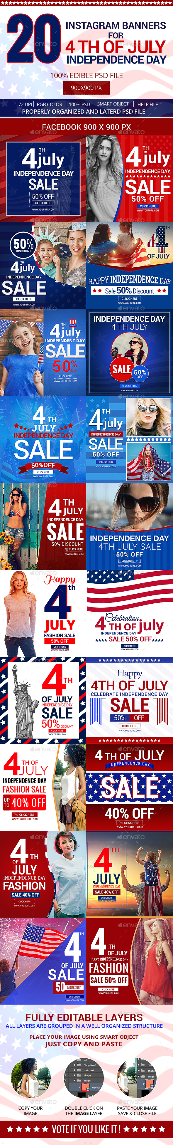 4th July 20 Instagram Banners - Social Media Web Elements
