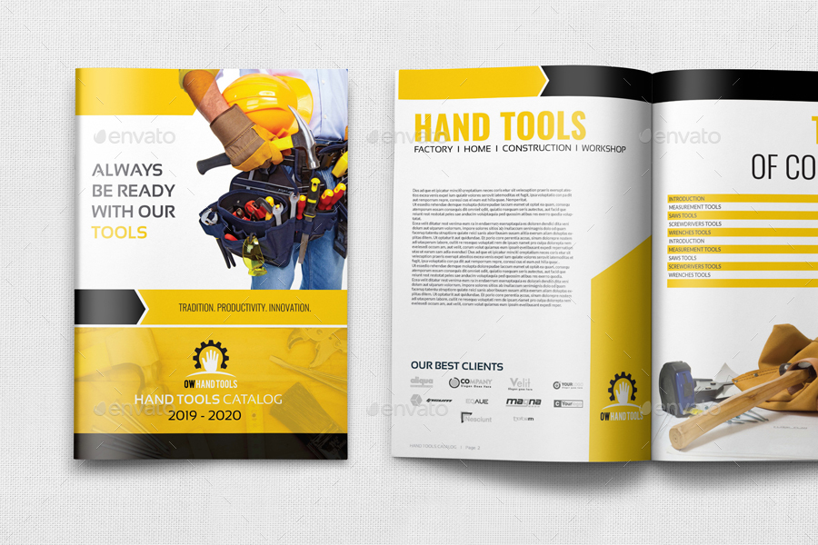 hand tools products catalog brochure template 24 pages by owpictures. Black Bedroom Furniture Sets. Home Design Ideas