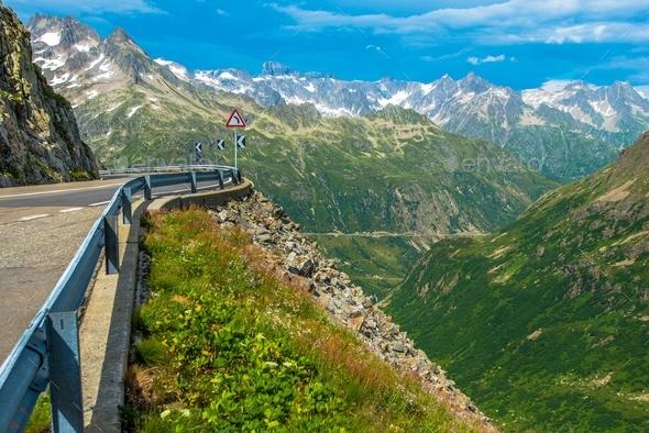 Scenic Alpine Road - Stock Photo - Images