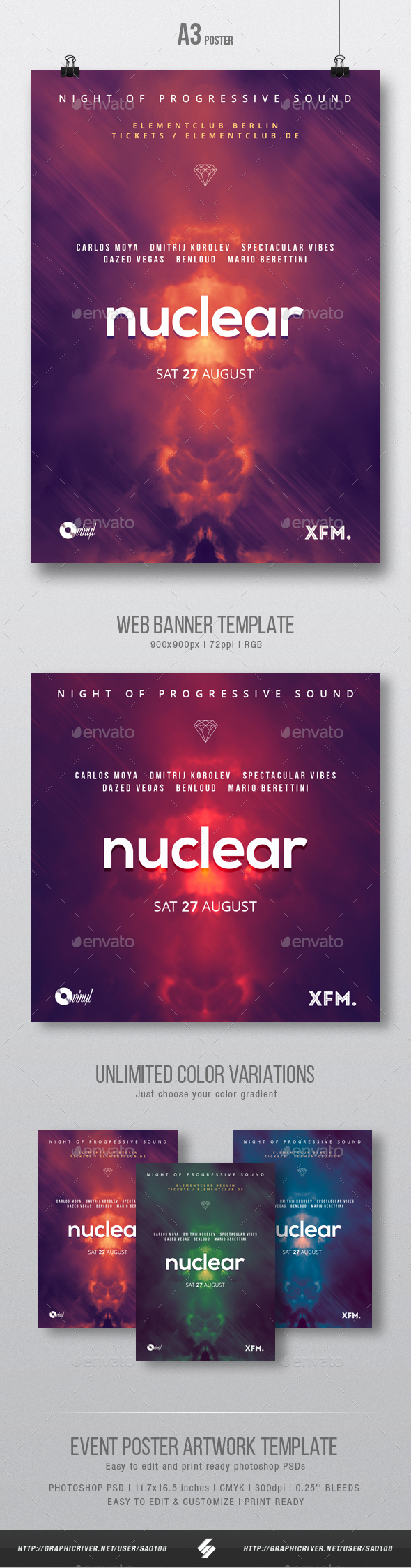 Nuclear - Minimal Party Flyer / Poster Template A3 - Clubs & Parties Events
