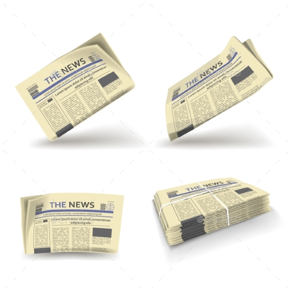 Newspaper Folded Open and Stack Vector Isolated - Miscellaneous Vectors