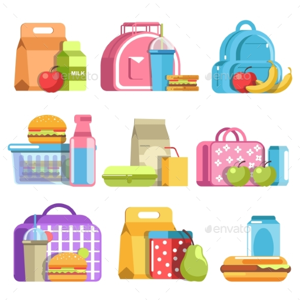 School Lunch and Meal Boxes - Food Objects