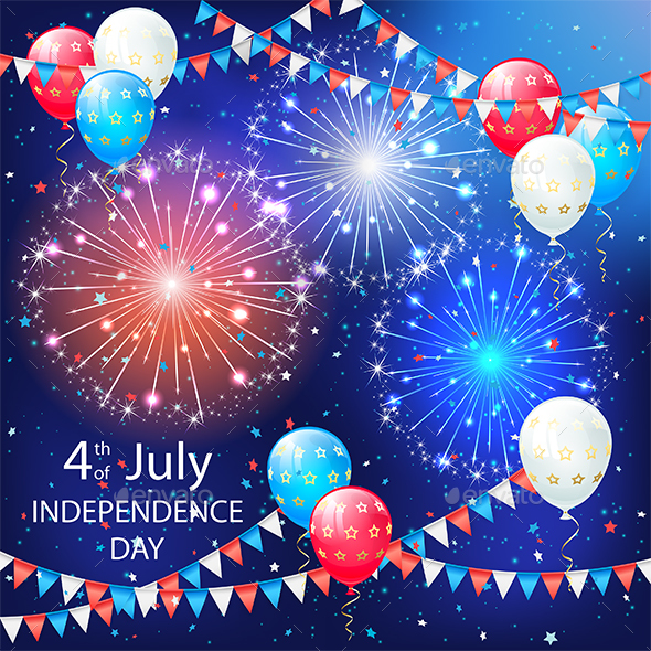 Balloons and Fireworks on Independence Day Background - Miscellaneous Seasons/Holidays
