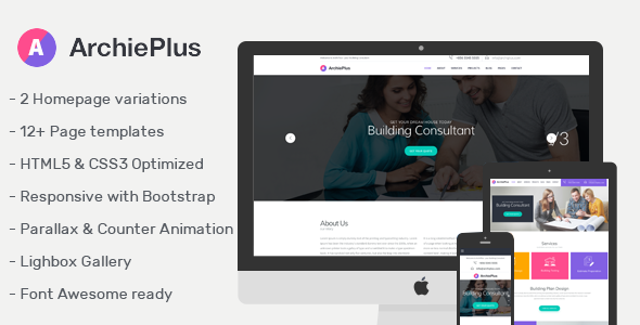 ArchiPlus - Responsive Template for Building Consultant - Business Corporate