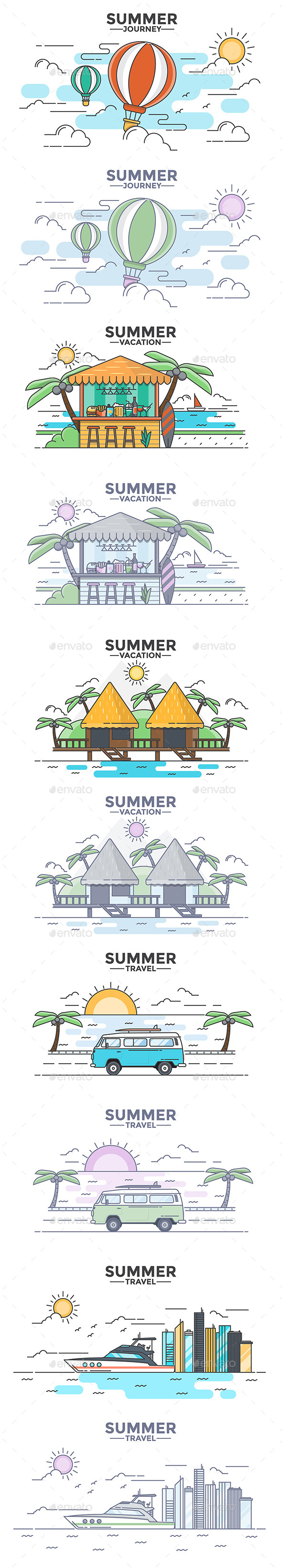 Modern Flat Thin Line Design Summer Concepts - Travel Conceptual