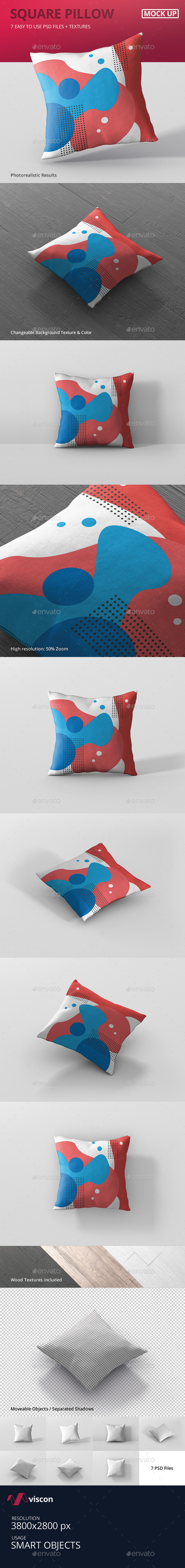 Pillow Mockup - Square - Miscellaneous Product Mock-Ups