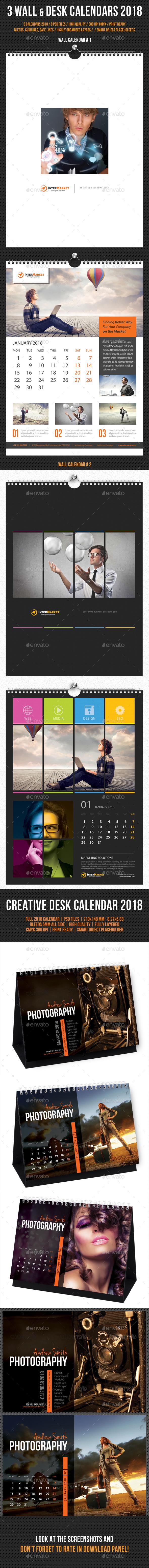 Wall and Desk Calendar 2018 Bundle - Calendars Stationery