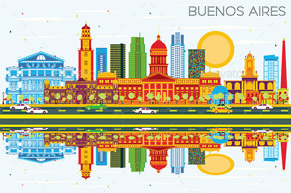 Buenos Aires Skyline with Color Landmarks, Blue Sky and Reflections - Buildings Objects