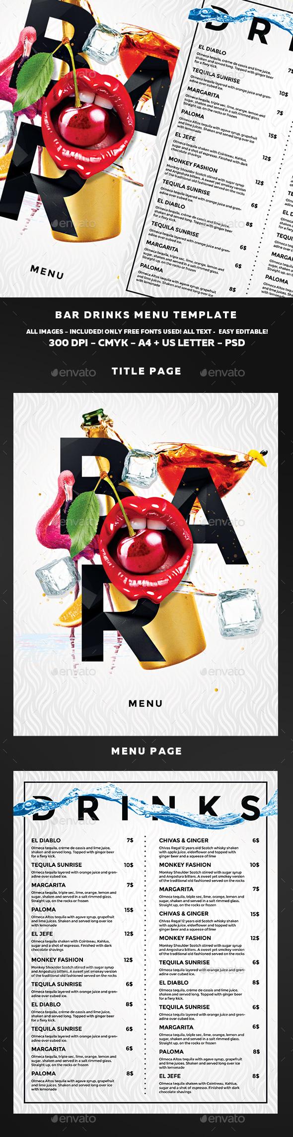 Cocktail Menu - Food Menus Print Templates