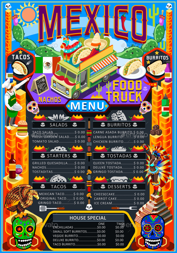 Food Truck Menu Street Food Mexican Festival Vector Poster - Food Objects