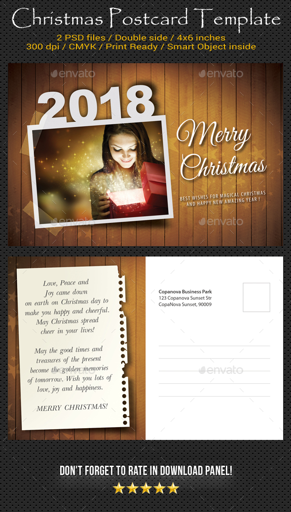 Merry Christmas Postcard Template V02 - Holiday Greeting Cards