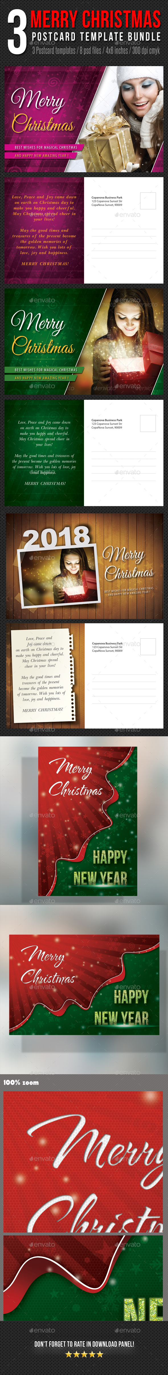 3 in 1 Merry Christmas Postcard Template Bundle - Holiday Greeting Cards