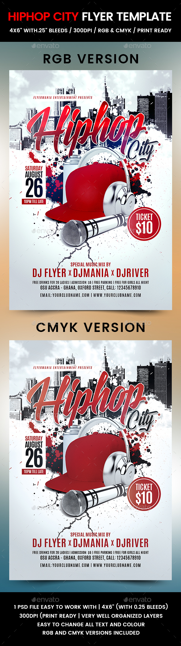 Hiphop City Flyer Template - Clubs & Parties Events