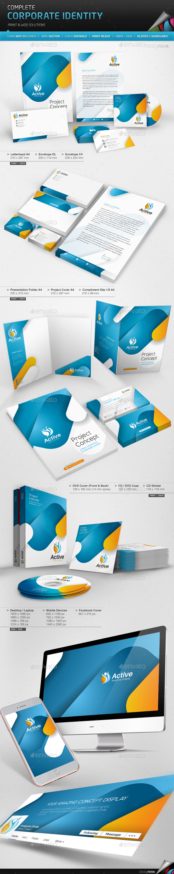 Corporate Identity - Active - Stationery Print Templates