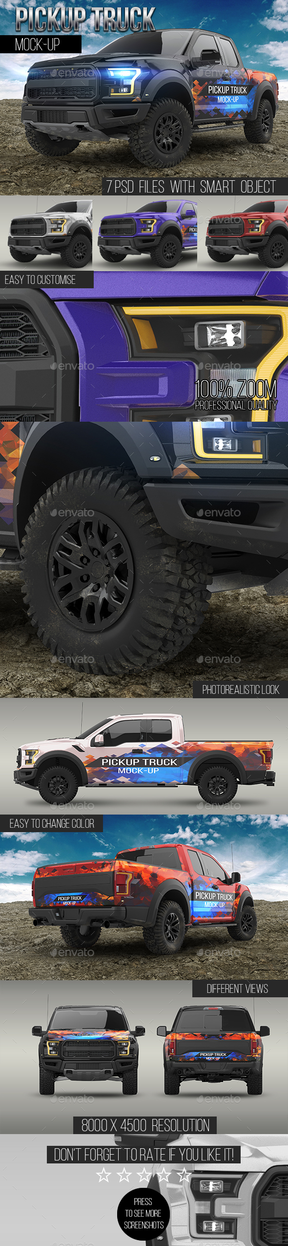 Pickup Truck Mock-Up - Vehicle Wraps Print