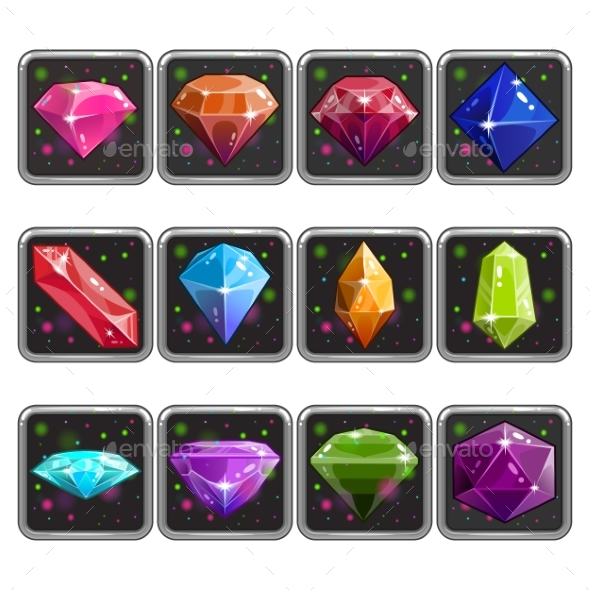 Set of Application Icon with Gems - Technology Conceptual