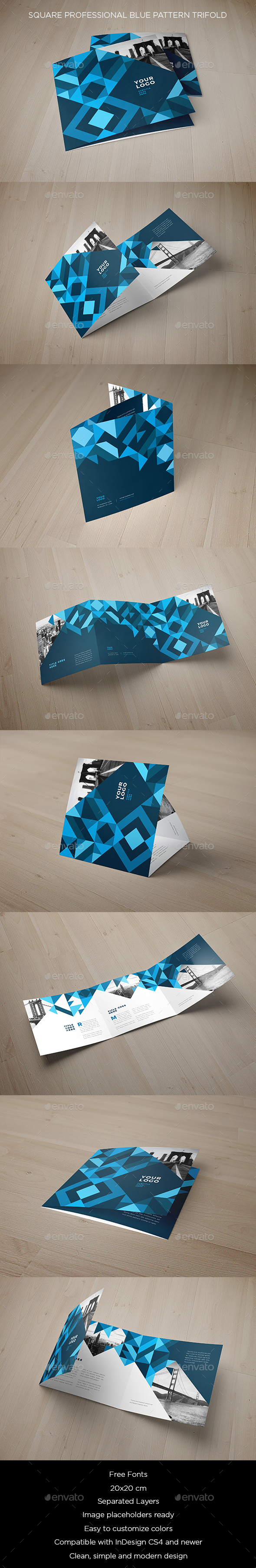 Square Professional Blue Pattern Trifold - Brochures Print Templates
