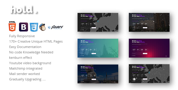 Hold - 170+ Creative Unique HTML Responsive Coming Soon Under Construction Templates - Under Construction Specialty Pages corporeal - personal portfolio & cv html template (personal) Corporeal – Personal Portfolio & Cv Html Template (Personal) 01 preview hold 590x300
