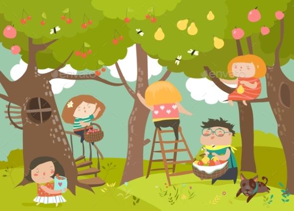Happy Children Harvesting - Flowers & Plants Nature