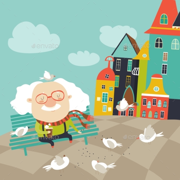 Old Man Feeding Pigeons - People Characters